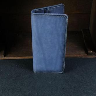 Кожаный кошелек, Лонг на 8 карт, кожа итальянский краст, цвет Синий