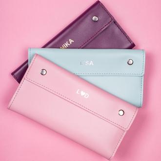 Женский кошелек Келли из натуральной кожи в нежно-розовом цвете | 1_0150M_KEL