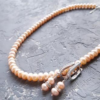 Натуральный жемчуг ожерелье и серьги