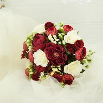 Букет-дублер бордовый / Букет-дублер для свадьбы бургунди / Букет невесты айвори / Марсала