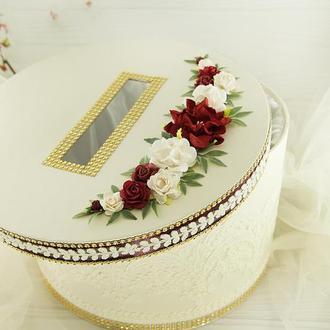 Сундук для денег бордовый / Скриня для грошей бордова / Коробка весільна марсала / Бургунди