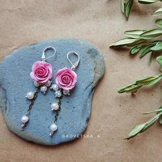 Серьги с розами  и настоящим жемчугом