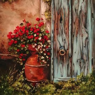 """Интерьерная картина маслом """"У старой двери"""" 40х30 см, холст на подрамнике, масло"""