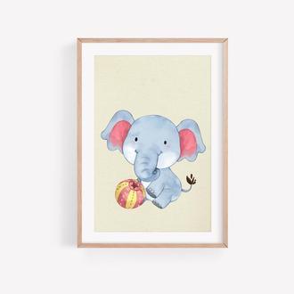 Слонёнок для Детской, Изображение На Стену, Картинка в Детскую, Картинка для Ребёнка