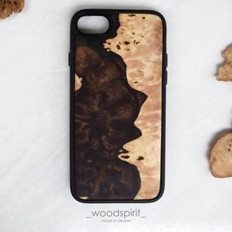 Деревянный чехол для iPhone 7 8 из дерева и эпоксидной смолы ручная работа