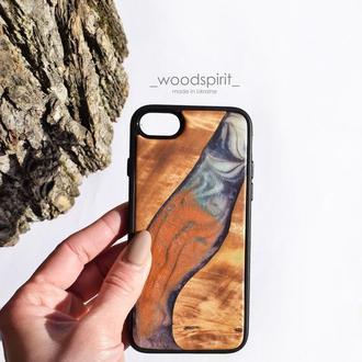 Чехол для iPhone 7 8 из дерева и эпоксидной смолы,Мраморный чехол из натурального дерева и эпоксидки