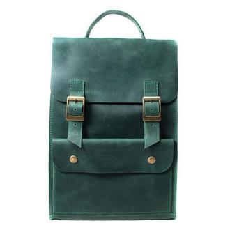 Кожаный рюкзак на пряжках. 01004/зеленый