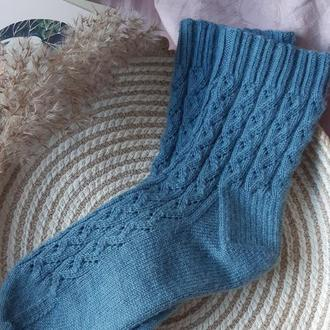 Ажурные вязаные носки, шерстяные носки, тёплые носки
