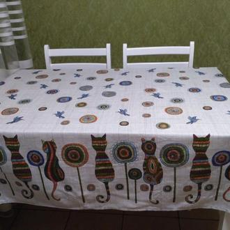 скатерть Коты и колибри Натуральная ткань