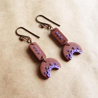 Коричнево фиолетовые серьги геометрической формы Серьги в стиле бохо Необычные серьги