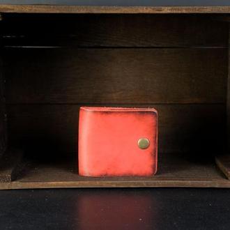 Кожаный кошелек Жорик, кожа итальянский краст, цвет Красный