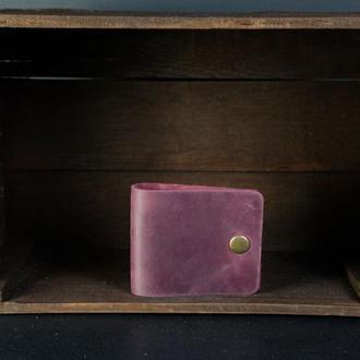Кожаный кошелек Жорик, кожа краст, кожа Crazy Horse, цвет Бордо