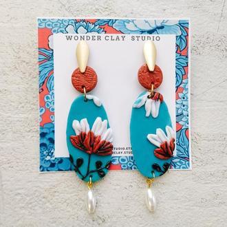 Голубые овальные серьги из глины с лепкой, белыми цветами, искусственным жемчугом
