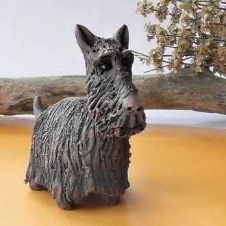 Статуэтка Скотч-терьера керамическая подарок любителю собак