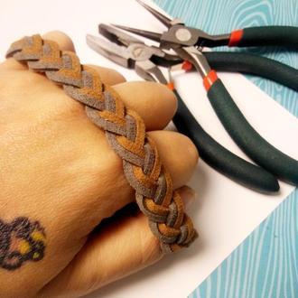 Мужской браслет, браслет для мужчины, плетеный браслет из замши