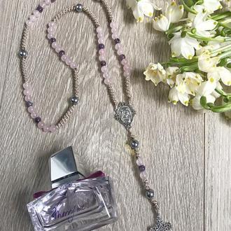 Розарий, четки : розовый кварц, аметист и серебряный гематит