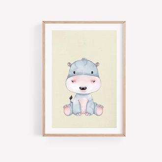 Гипопотамчик для Детской, Изображение На Стену, Картинка в Детскую, Картинка для Ребёнка