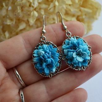 Серьги голубые , с цветами из холодного фарфора