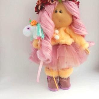 Кукла Тильда фея Розовласка с единорогом