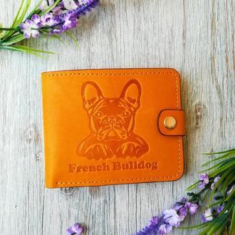 Желтый маленький кожаный кошелек мужской портмоне бумажник с тиснением бульдог на кнопке
