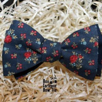 Navy-Blue / Rose Flower Bow Tie