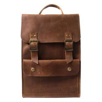 Винтажный кожаный рюкзак ручной работы. 01004/коньяк