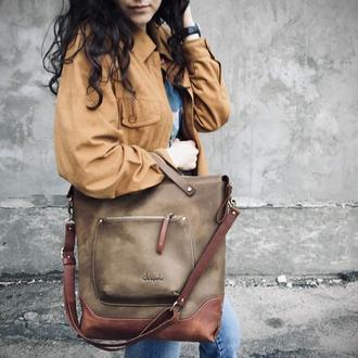 """Кожаная сумка шоппер """" VIRGINIA """"/ сумка мессенджер / сумка Тоте"""