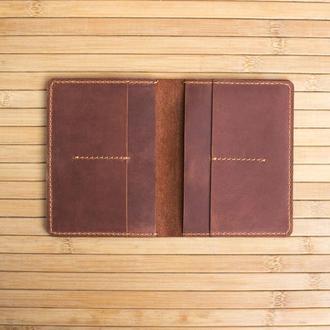 Обложка на два паспорта из натуральной кожи Traveler коричневый
