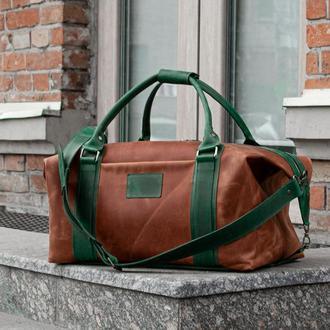 Дорожная сумка из коричневой кожи, Кожаная спортивная сумка