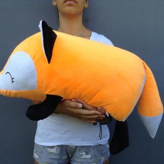 Мягкая игрушка подушка валик Strekoza Фокси 60 см оранжевый большая