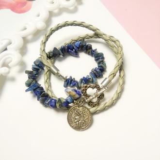 Стильный женский браслет с содалитом, подарок женщине на 8 марта или день рождение