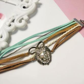 Слейв браслет из замши и цепей, подарок девушке на 8 марта