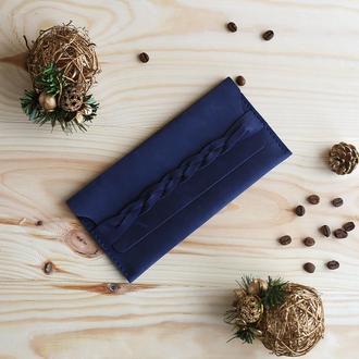 Клатч кошелек из натуральной кожи Braidy синий