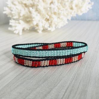 Бисерный браслет, бирюзовый браслет Chan Luu из бисера, браслет обмотка