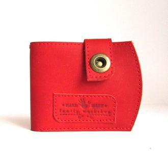 Компактный кошелек ,два цвета, из натуральной кожи ручной работы