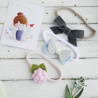 Нежные повязки для девочки / Подарочный набор повязок для малышки на праздник