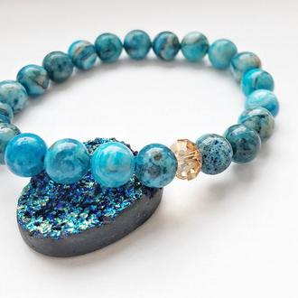 Женский браслет из синего агата с кристаллом Swarovski, агатовый браслет для девушки