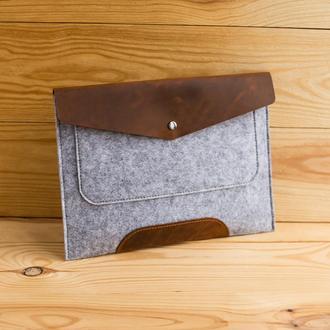 Папка для ноутбука из фетра и кожи Warm Folder серая