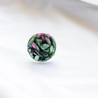 Колечко с рубином в цоізиті - кольцо с рубином в цоизите