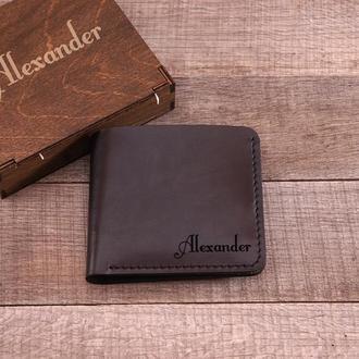 Кожаный мужской кошелек, портмоне. Именная гравировка на выбор