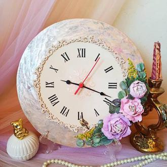 """Настольные часы """"нежные пионы"""" тихий ход, шикарный подарок, часы на стену"""