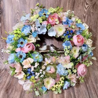 Пасхальный весенний венок на дверь декор композиция великодній вінок