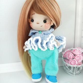 Кукла Брусничка в вязаном платье