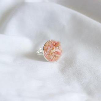 Перстеник з рожевим опалом - кольцо с розовым опалом - универсальный размер