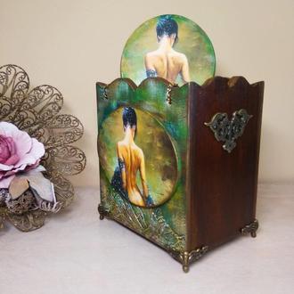 """Подарок любимой. Короб органайзер и щетка для волос """"Таинственная""""."""