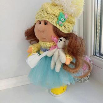 Кукла Тильда восточная красавица в лимонных оттенках