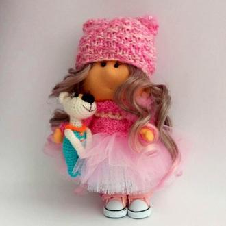 Кукла текстильная Роуз с собачкой амигуруми