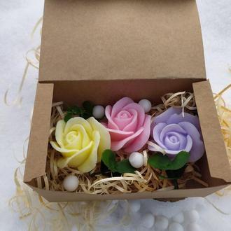 Мыльный набор из трех роз