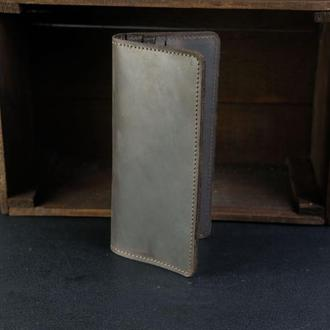 Кожаный кошелек, Лонг на 12 карт, кожа Crazy Horse, цвет Шоколад