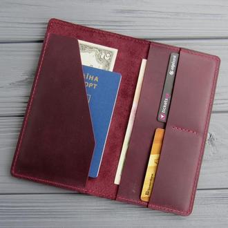 Кожаный тревел-кейс, органайзер для путешествий из кожи_портмоне для билетов и документов_марсала